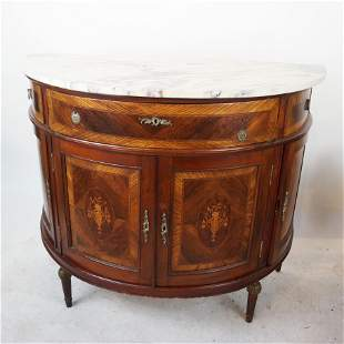 French Marble Top Demilune Server