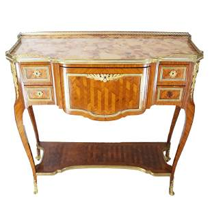 French Parquetry Inlaid Abattant Desk