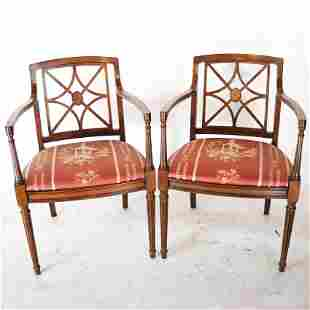 Pair of Mahogany Adam-Style Arm Chairs