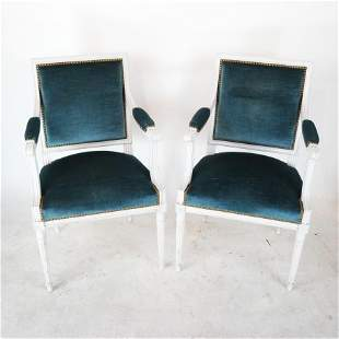 Pair Louis XVI-Style White Painted Arm Chairs