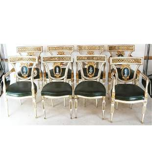 Set of 8 Italian LXVI-Style Dining Room Chairs