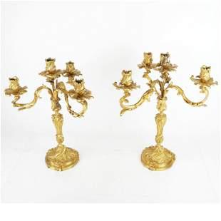Pair Gilt Bronze Louis XV-Style Candelabra