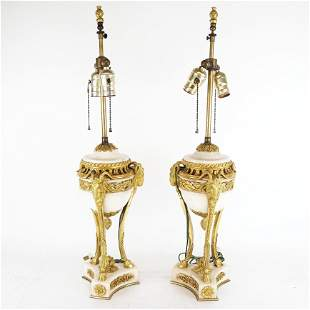 Pr Empire-Style Marble & Bronze Table Lamps
