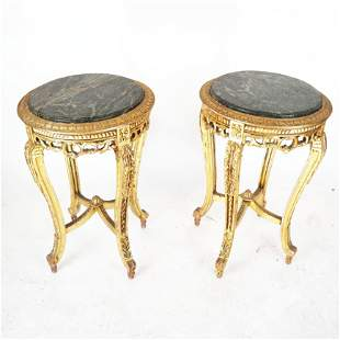 Pair of Gilt Wood Marble Top Side Tables
