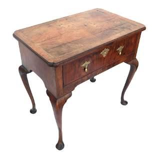 18th C. George I Burl Walnut Side Table