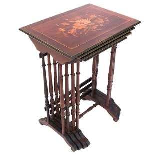 Continental Marquetry Nest of Four Tables