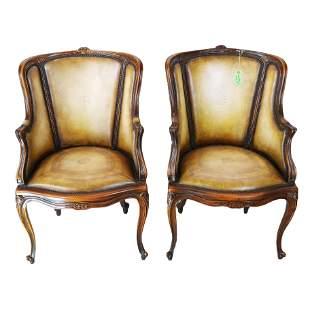 Pair George III-Style Mahogany Bergeres