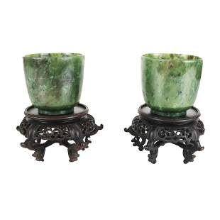 Pair of Chinese Spinach Jade Cups