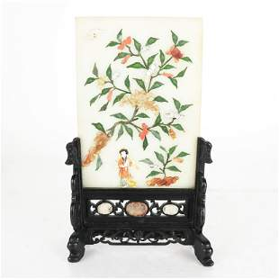 Chinese Hardstone Mounted Jade Table Screen