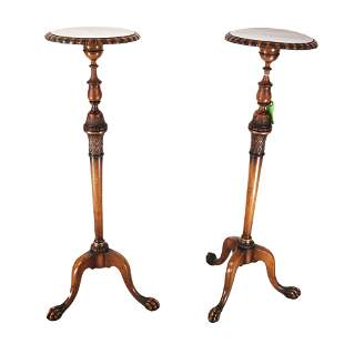 Pair George III-Style Walnut Torchieres