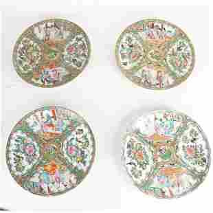 Set of 4 Chinese Rose Medallion Plates