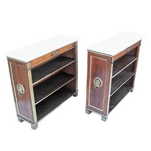 Pair Regency-Style Rosewood Bookcases