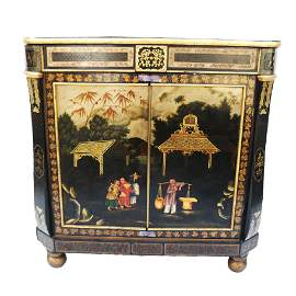 Regency Japanned Tole Cabinet, Early 1800s
