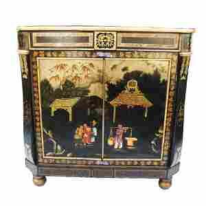 Regency Japanned Tole Cabinet, Early 1800s