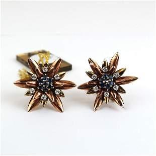 Pair of Vintage Diamond & Sapphire Earrings