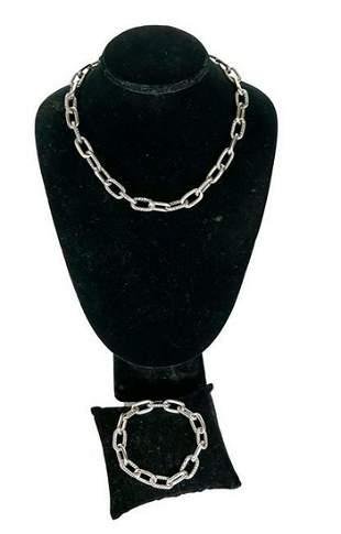 David Yurman Sterling Silver Necklace and Bracelet