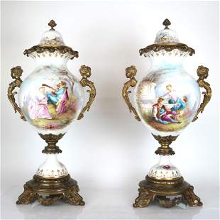 Pair of Sevres Porcelain Covered Urns