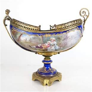 Sevres Porcelain & Bronze Centerpiece