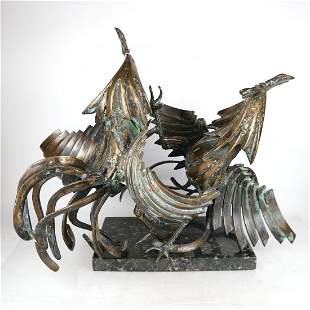 Sergio CASTILLO: Two Roosters -Sculptures