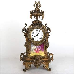 Ansonia Mantel Clock with Porcelain Plaque