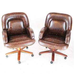 Pair of Leather Upholstered Desk Chairs