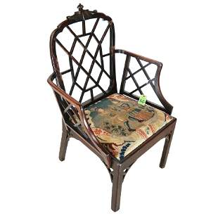 "George III ""Chinese"" Trellis-Back Arm Chair"