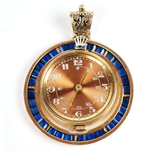 Rolex Watch Pendant in Gold & Sapphire Setting