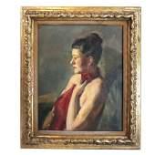 Louis BOUCHE: Portrait of a Woman - Painting