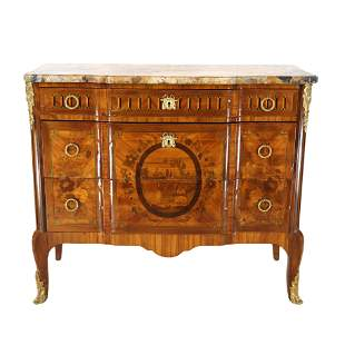 19th C. French Inlaid, Marble Top Commode