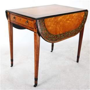 George III Painted & Inlaid Drop Leaf Table