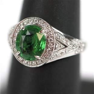 Cirari Couture Green Tsavorite & Diamond Ring