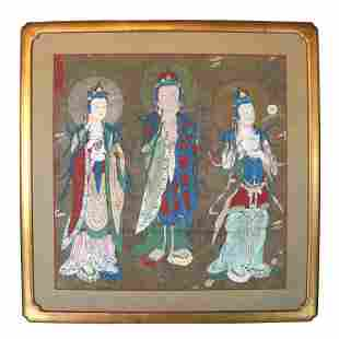 Chinese Painting on Paper Mounted to Canvas