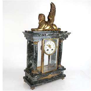 L. Agostina Bronze & Marble Mantel Clock
