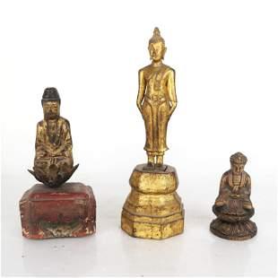 Three Chinese Gilt Wood Figures