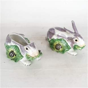 Two Mottahedeh Rabbit-Form Tureens