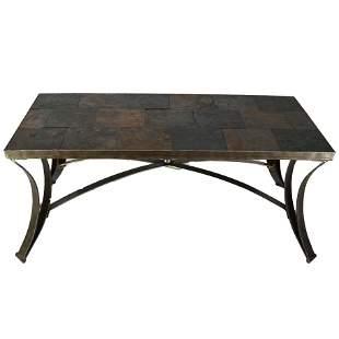 Bronzed Metal & Stone Tile Coffee Table