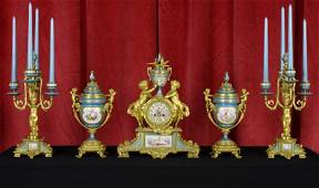 French Dore Bronze & Sevres 5-Pc Clock Set