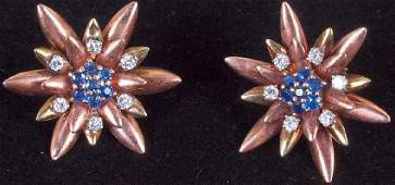 Rose Gold Sapphire and Diamond Star Earrings