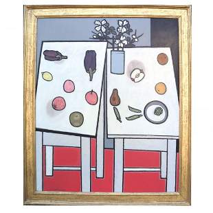 """Robert GWATHMEY: """"Two Tables w/ Fruit"""" - Painting"""