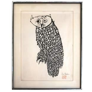 Ben SHAHN: Channel 13 Owl - Lithograph