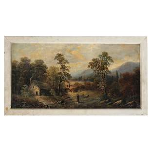 F. STONE: Landscape with Figures - Oil Painting