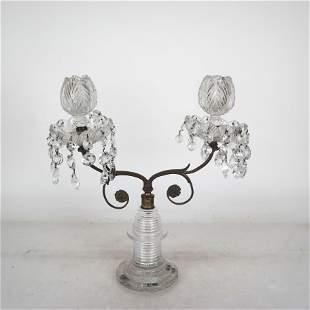 19th C. American Cut Glass Candelabra