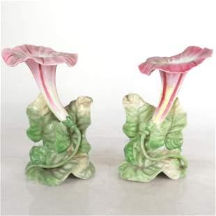 Pair of Majolica Petunia-Form Vases