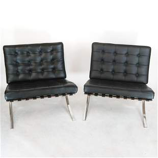 Pair Mies Van Der Rohe Barcelona Chairs by Knoll
