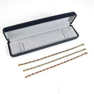 Set of 3 Gold, Diamond & Stone Bracelets