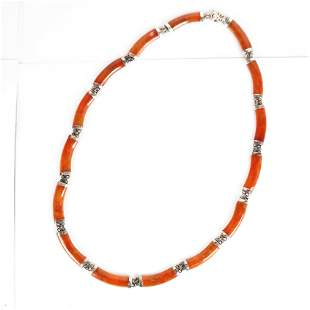 Sterling Silver and Amber Necklace