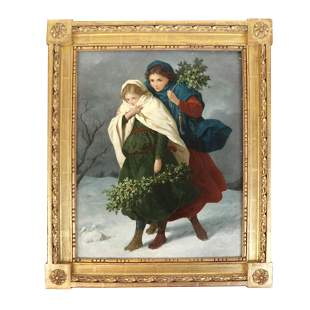 Two Girls in Winter- Oil on Masonite