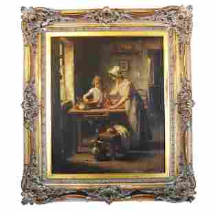 LAROUX: Interior Scene- Oil Painting
