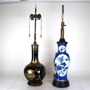 Two Chinese Vase-Form Table Lamps