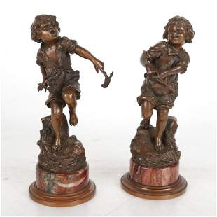 Carl KAUBA: Pair of Sculptures of Children